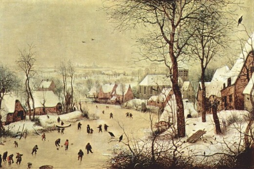 Painting depicting people skating on frozen canals.