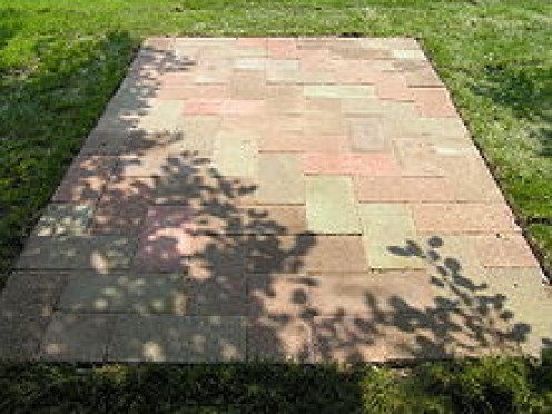 extending your concrete patio with pavers dengarden. Black Bedroom Furniture Sets. Home Design Ideas