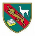 School emblem with book for knowledge, lion for Britain and a llama for Peru