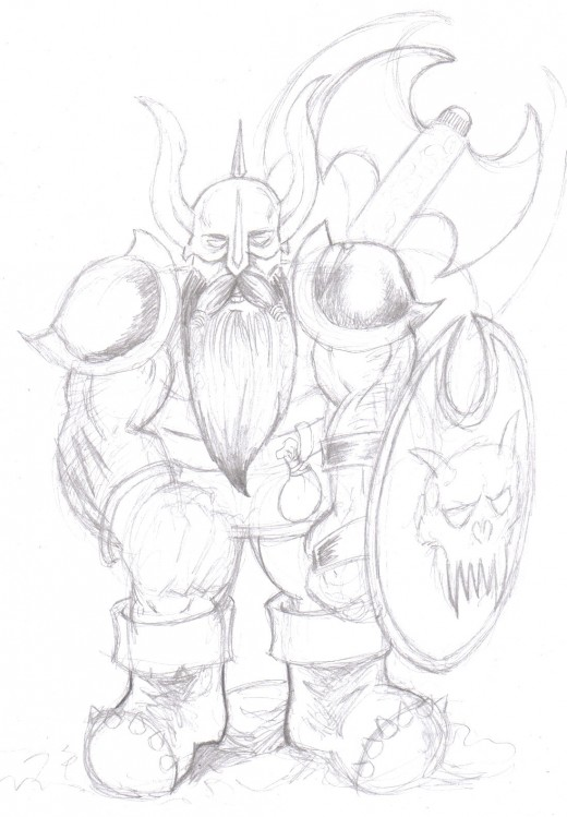 Dwarf Sketch which needs some work finishing it off.    Art Copyright Wayne Tully 2010.