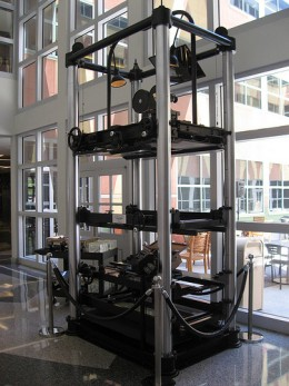 A four-level, twelve-feet-tall multiplane camera built by Walt Disney Studio in 1937. It today stands in the Frank G. Wells Building on the Disney lot in Burbank.