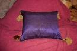 purple cushion with flickr.com