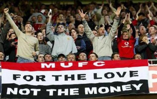 Manchester United fans show what football should be about and not be for the motives that the Glazers are in it for!  From smh.com.au