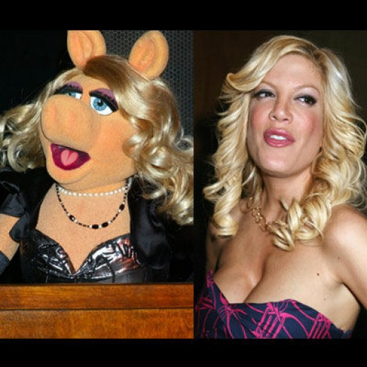 Miss Piggy and Tori Spelling
