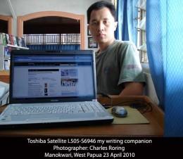 Toshiba laptop as my writing tool