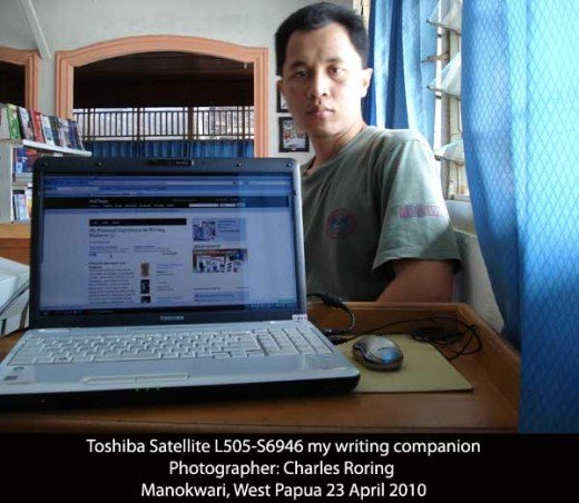 Toshiba Satellite L505, my writing device.