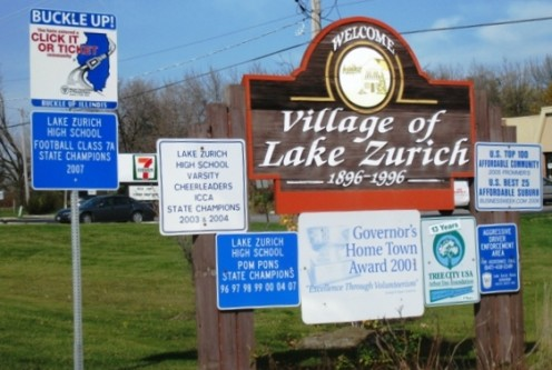 A sign in Lake Zurich, Illinois, a Northwestern suburb of Chicago.
