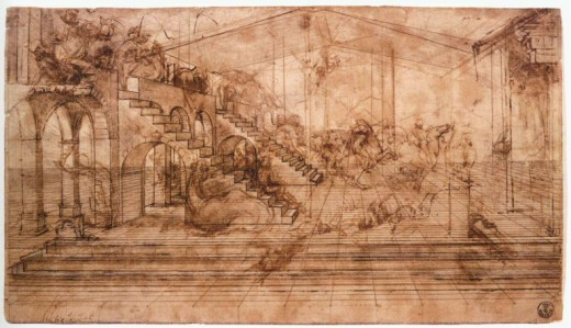 STUDY OF PERSPECTIVE BY LEONARDO