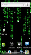 "HelixLauncher2 running The Matrix Live Wallpaper. The dock area's ""glass"" background can be turned off."