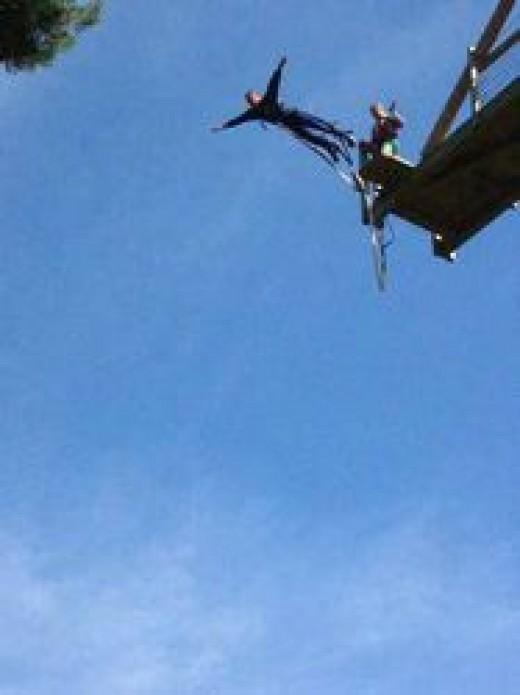 Bunjee jumping at Massignac Adventure Park