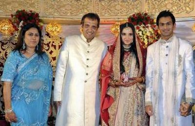 Sania's parents, after the marriage, with the couple.