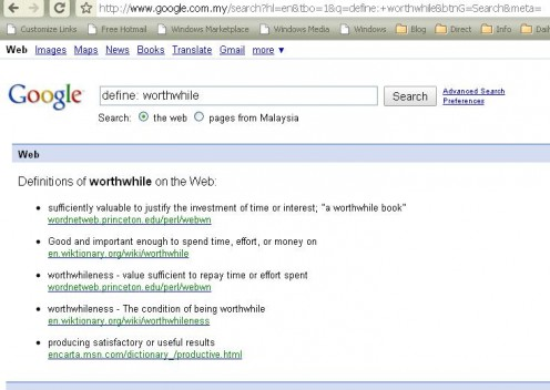 Google Dictionary   define: word