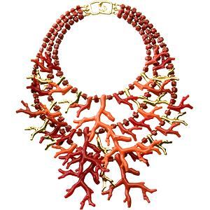 Kenneth Jay Lane  F aux Coral Branch Necklace