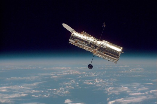 Hubble Space Telescope seen against Earth's horizon. Photo courtesy of NASA.
