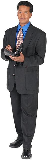 The grey suit tends to ease the eyes from the dramatic black suit. It slightly (only slightly) dresses down a suit so opt for this instead of a black suit.