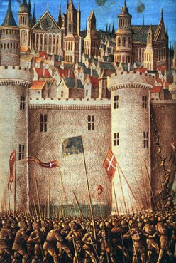 Medieval miniature - Siege of Antioch, 1490 ~ Source ~ Adam Bishop. 'photographic reproduction of an original two-dimensional work of art'. Public domain. See: http://en.wikipedia.org/wiki/File:SiegeofAntioch.jpeg