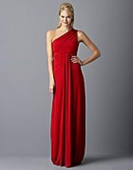 "photo credit: lordandtaylor.com  A.B.S. by Allen Schwartz, ""Debra"" one shoulder   gown, $270, polyester/spandex, dry clean, American made, crimson color, available in sizes x-small to large"