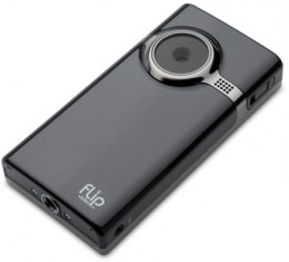 The Flip Video MinoHD Camcorder in black brushed metal