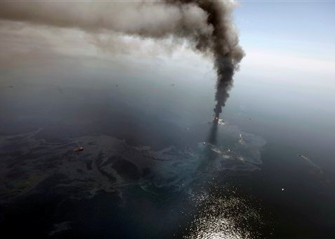 Oil rig explosion at Gulf of Mexico. An aerial view from more than 50 miles southeast of Louisiana's tip/Photo by: Gerald Herbert, AP