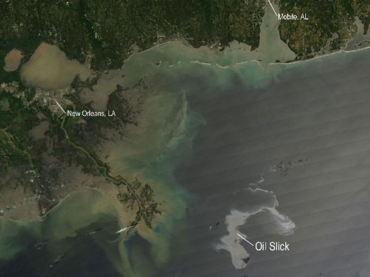 NASA's Aqua satellite captured this image of the Gulf of Mexico oil spill on April 25, 2010/Photo by NASA/MODIS Rapid Response Team