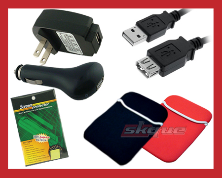 Flip Video Minohd Camcorder accessories; HDMI and USB cables, waterproof cases and AC and car battery charger adapters
