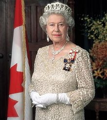Queen Elizabeth II wearing Sovereign's insignia of the Order of Canada and the Order of Military Merit