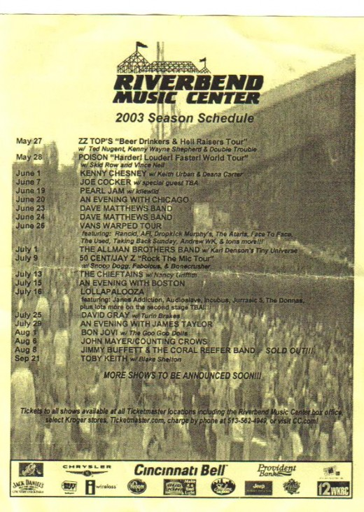 Riverbend lineup from 2003.