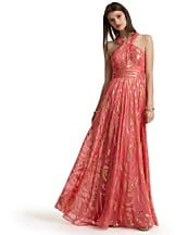 photo credit: bloomingdales.com  Aidan Mattox Long, Halter Lurex Swirl Print Gown $440    a swirling metallic print, silk/metallic, dry clean/imported, available in sizes 10 and 12, pink salmon
