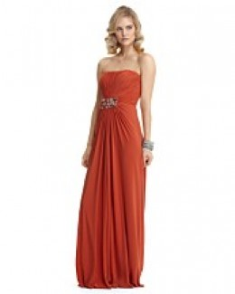 mignon chiffon strapless gown with beading, $368.00.   photo credit: bloomingdales.com  a ruched bodice is accentuated with a jeweled brooch, currently available in size 10 only, color= ginger
