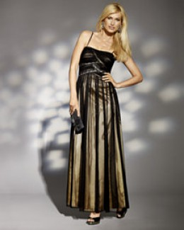 photo credit: spiegel.com    Beaded mesh dress, $169, dry clean only, shirred mesh overlay, empire waist with black and diamond colored zig zag beading, currently available in sizes 00-12, color = black-gold