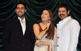 Aish aith husband Abhishek(left) and Vikram(hero in her recent film Raavan.