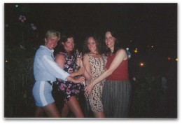 L-R) Mischelle-me, Keri, Allana, Chris Miniature Golfing in the Keys at 1 AM-Sun Burn!
