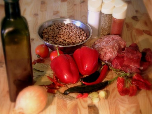 Ingredients for Chili Con Carne.
