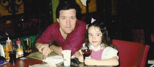 Me and my dad, hungry for some Tennessee barbecue, 1989-ish.