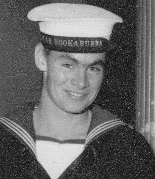 Here the tally-band on my cap says, HMAS Kookaburra.  I joined Kookaburra after leaving HMAS Barcoo in 1956.