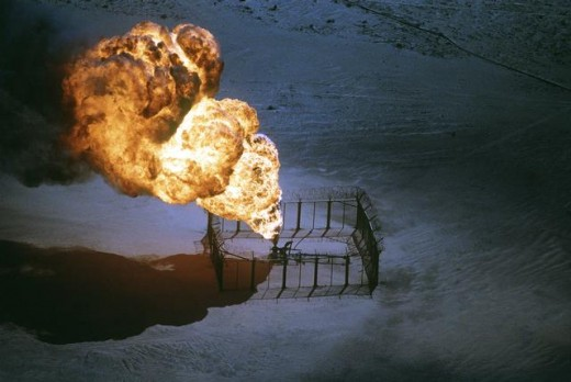 Warfare such as Desert Storm in 1991, resulted in the burning of several hundred oil wells that added heavily to soot and carbon input into the atmosphere.
