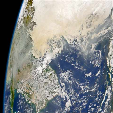 Seen from space, there is a huge swath of pollution over Asia. This gets carried to every region of the globe. Locally, global dimming is 24 percent and world wide, 2 to 4 percent. This masks the real extent of global warming.