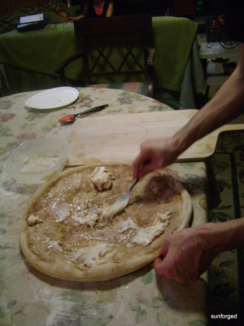 Dessert Pizza - Par-baked, applying cream cheese