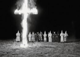 Klan members gather at a cross 'lighting' in Scottsboro, Alabama/2009
