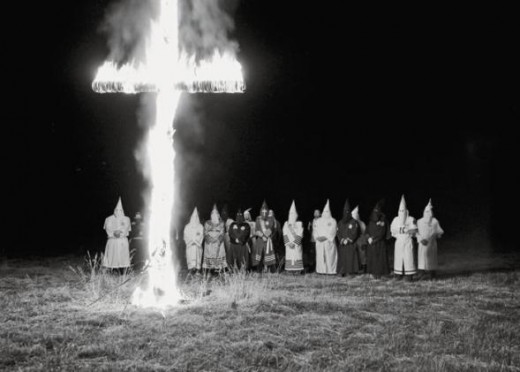 Klan members gather at a cross 'lighting' in Scottsboro, Alabama/2009