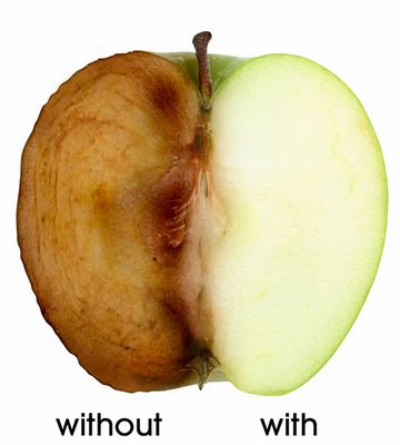 An browning apple