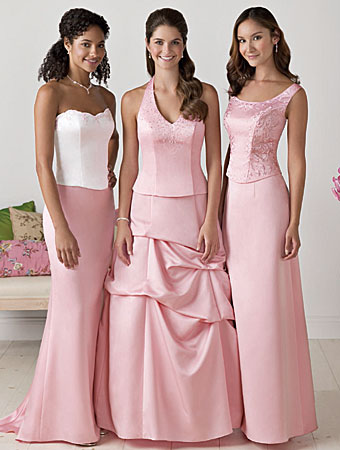Bridesmaid Dresses/Alfred Angelo Separates Left: Bodice Style 6490 & Skirt MSKT-D Center: Bodice Style 6802 & Skirt MSKT-S Right: Bodice Style 6501 & Skirt MSKT-A Shown in Tea Rose Available in 55 colors  Sizes: 2 to 20, 16W to 28W