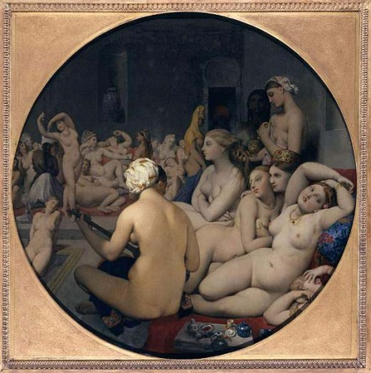 The Turkish Batch, by Ingres. Look at how sexy that tummy is, and how unashamed its owner poses!