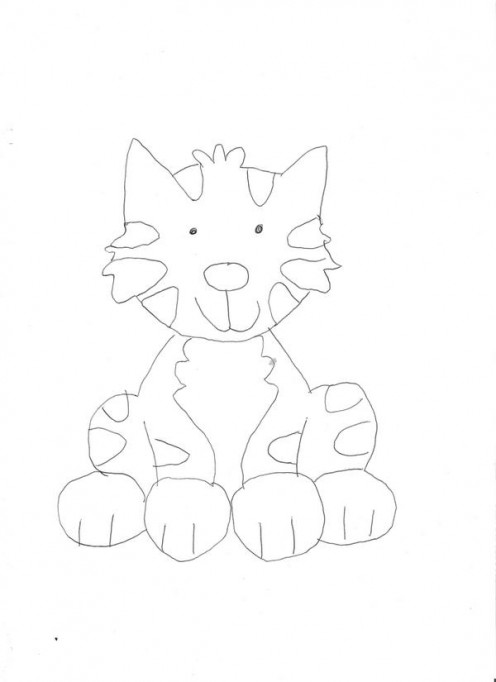 This is a picture of a cat that my 7 year old sister drew.
