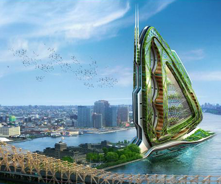 Vertical farming in specially designed towers is becoming a reality. This one is called the dragonfly.