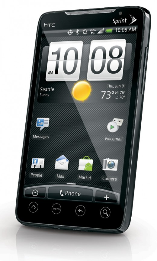 The Sprint HTC Evo 4G cell phone.