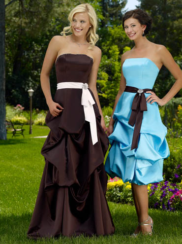 Bridesmaid Dresses: Raylia Bridesmaid Dresses 2119L Strapless A-line Satin gown. Scattered beading along bodice, pickup skirt, Satin band at waist features stunning brooch. Lace up back