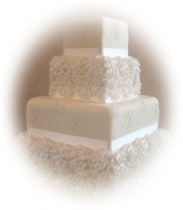 Wedding Cake Ideas: stacked wedding cake with flowers and rhinestones