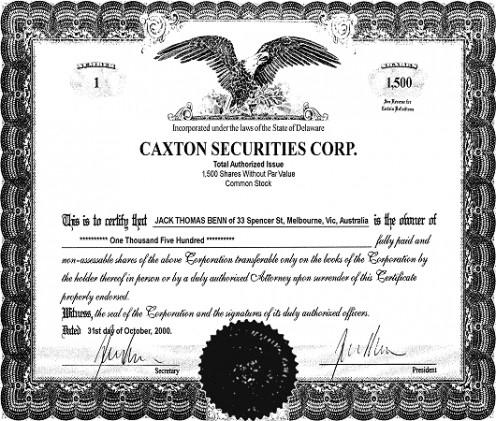 A Stock Certificate