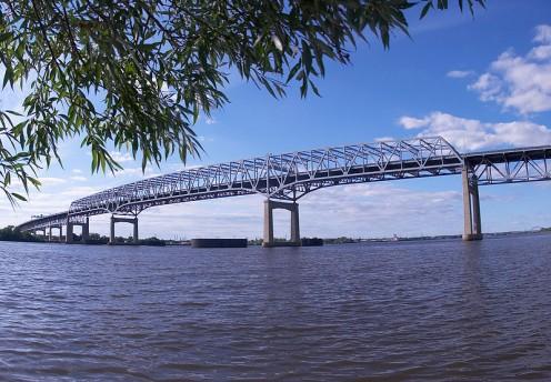Betsy Ross Bridge alongside Philadelphia.